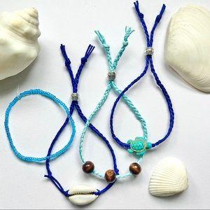 2/15 Bracelets Beaded Braid Cowrie Shell & Turtle